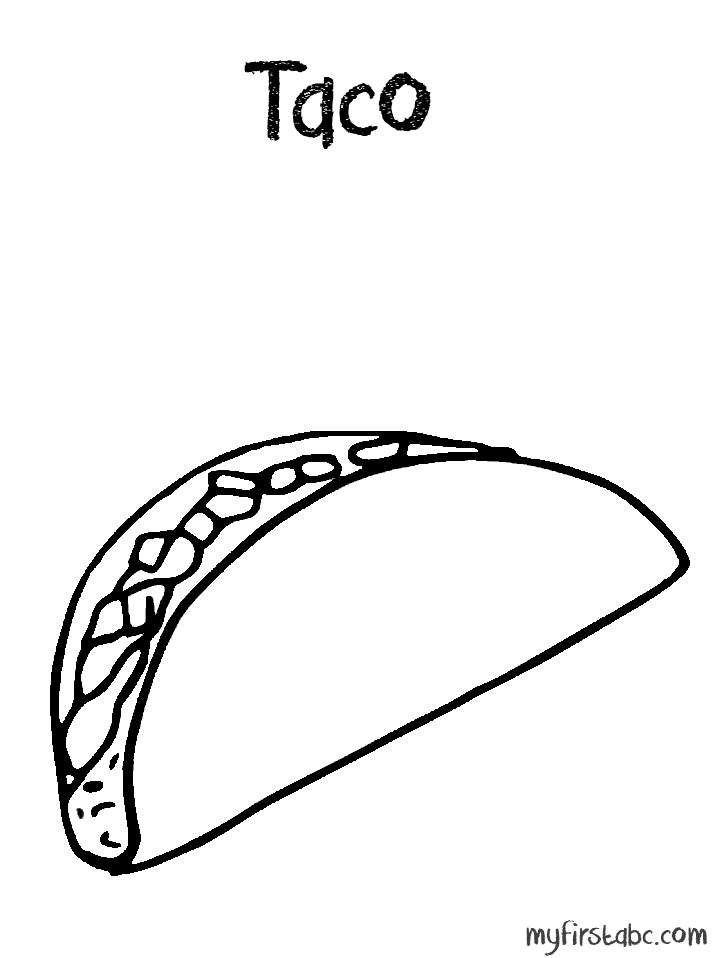 taco coloring page - taco shell coloring page coloring sketch templates
