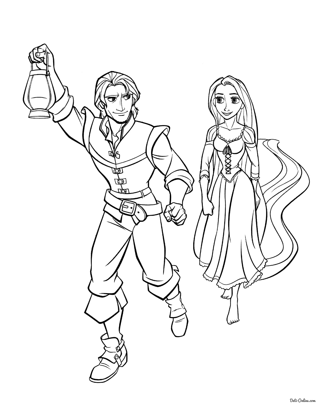 Tangled Coloring Pages - Раскраска Рапунцель и Флинн в пути