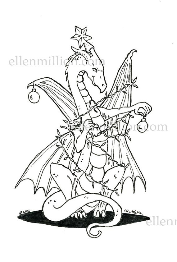 tangled coloring pages - tangled up christmas dragon digi stamp