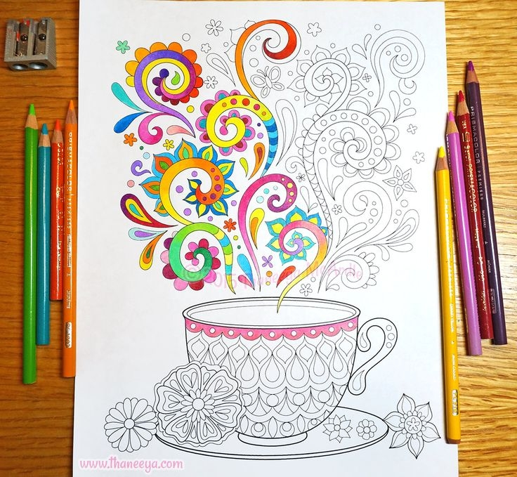tea cup coloring page - coloring books by thaneeya