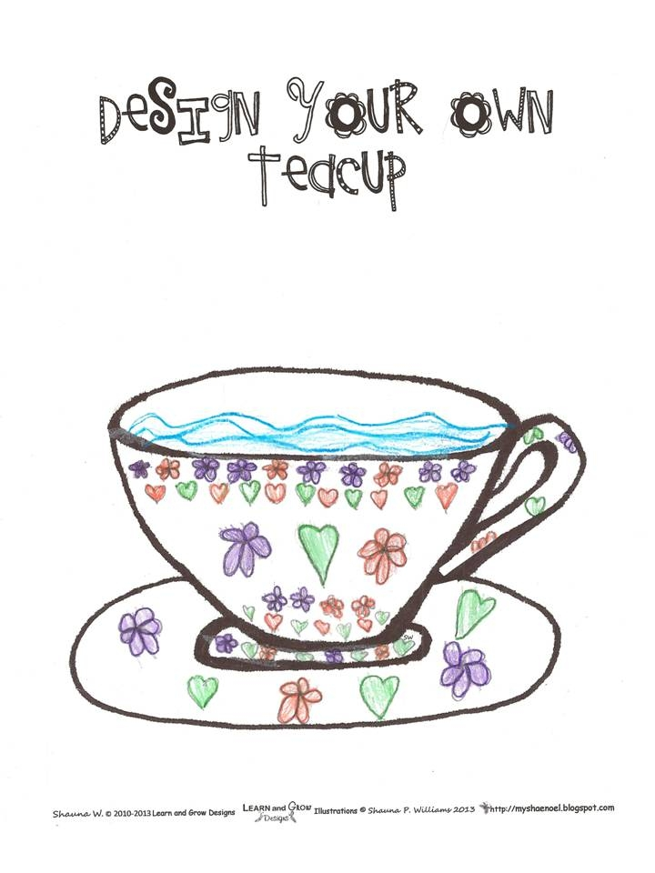 tea cup coloring page - teacup coloring page