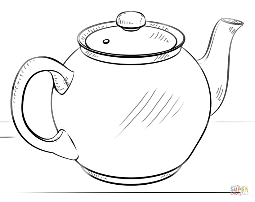 teapot coloring page - small teapot