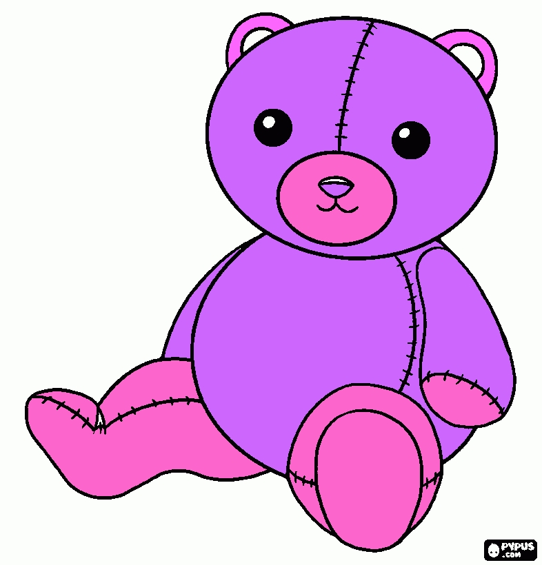 teddy bear coloring pages - coloring page purple teddy bear