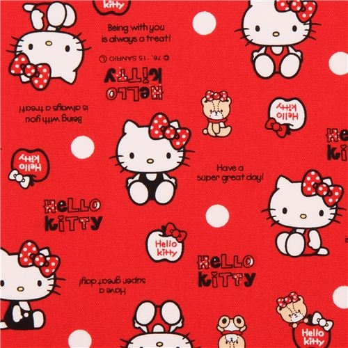 teddy bear coloring pages - p red Hello Kitty teddy bear dot oxford fabric