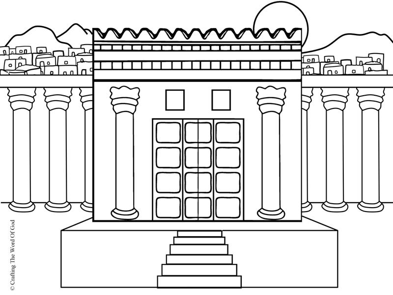 temple coloring page - rebuilding the temple