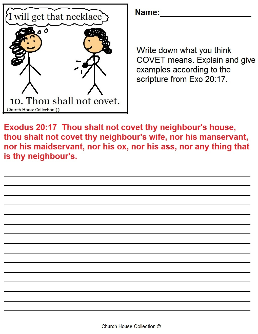 ten commandments coloring pages - thou shalt not covet sunday school lesson