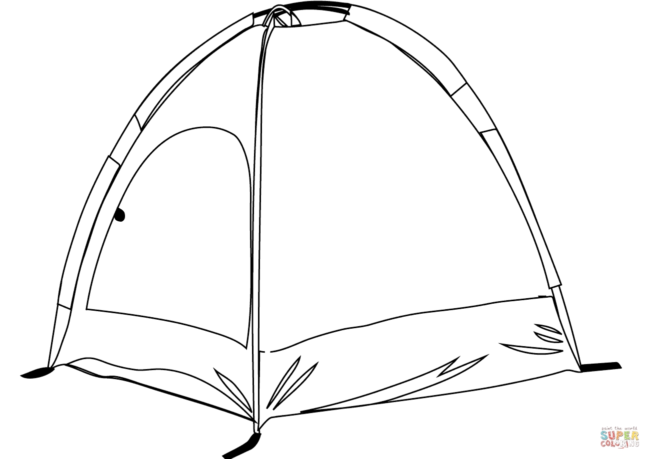 tent coloring page - camping tent
