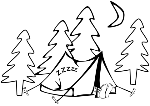 tent coloring page - tent coloring