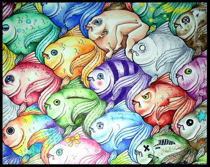 tessellation coloring pages - Fish Tessellation