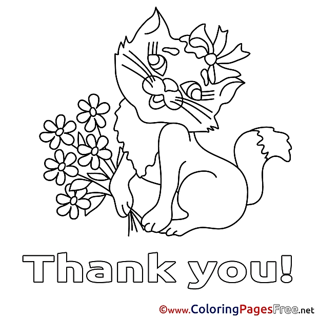 thank you coloring pages - cat flowers thank you coloring pages free 5996