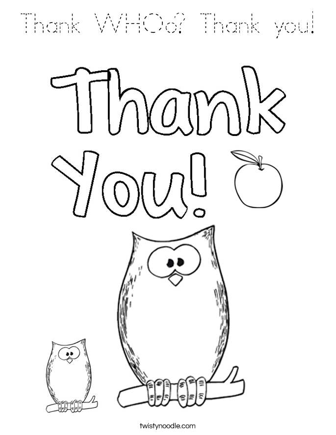 thank you coloring pages - block outline