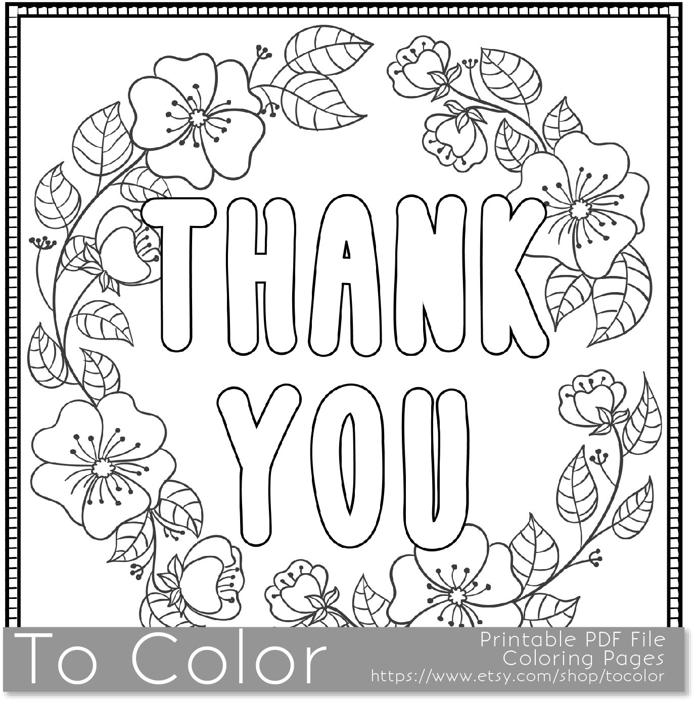 thank you coloring pages - thank you printable coloring page for
