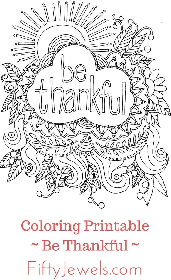 Thankful Coloring Pages - Adult Coloring Pages