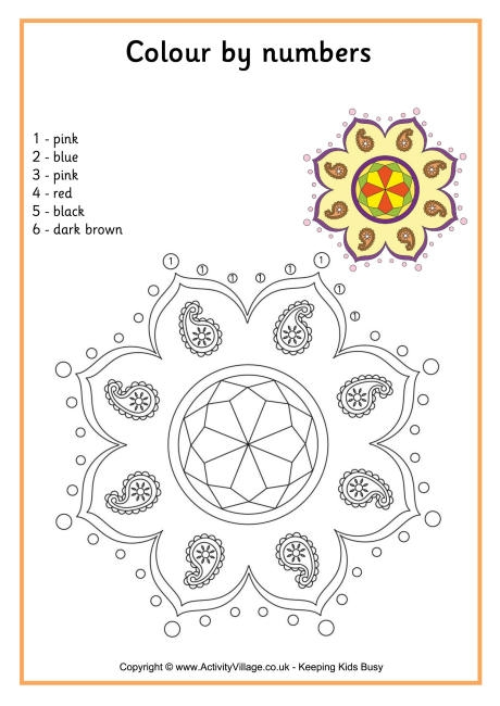 thanksgiving coloring pages for preschoolers - rangoli colour by number 4