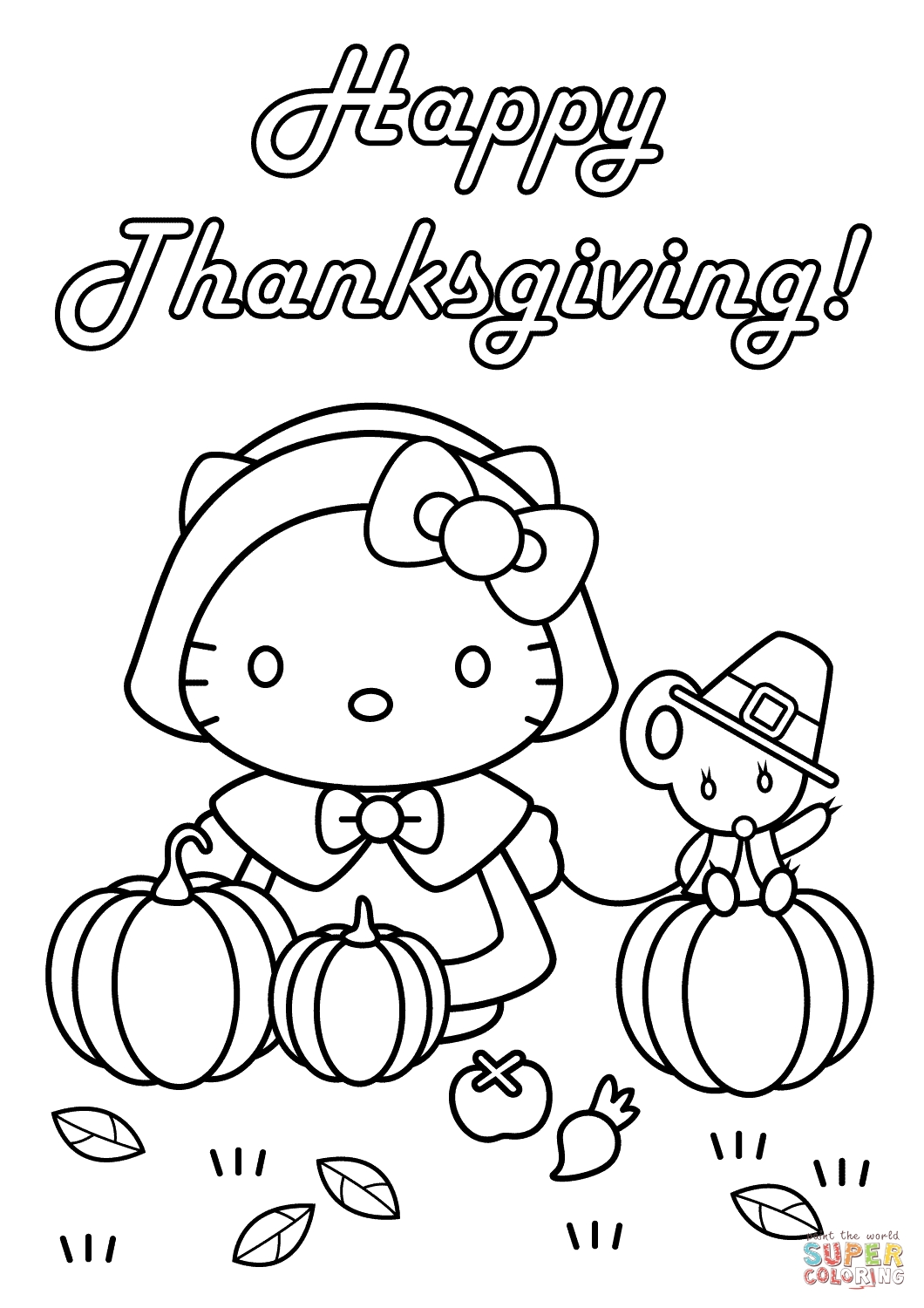 thanksgiving coloring pages free - hello kitty happy thanksgiving