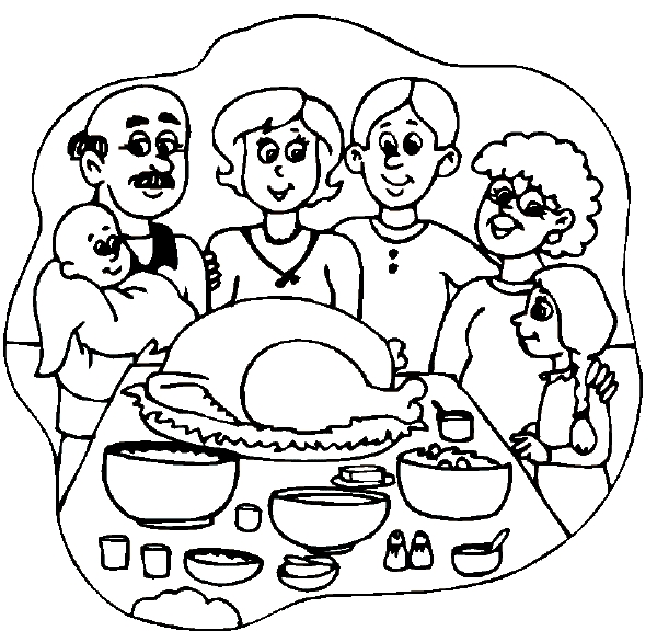 thanksgiving turkey coloring pages - family dinner