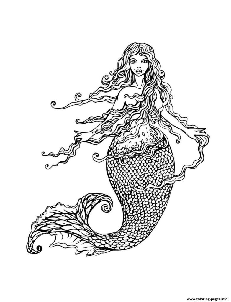 the color of water quotes with page numbers - print adult mermaid with long hair by lian coloring pages mermaid coloring pages for adults realistic mermaid coloring pages for adults