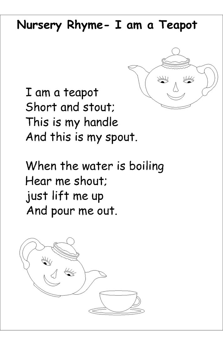 the color of water quotes with page numbers - 4351 Nursery rhyme coloring pages I am tea potpng