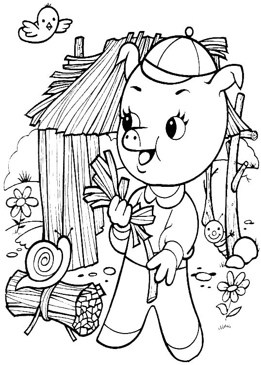 Three Little Pigs Coloring Pages - Coloriage A Imprimer Le Petit Cochon Construit Sa Maison