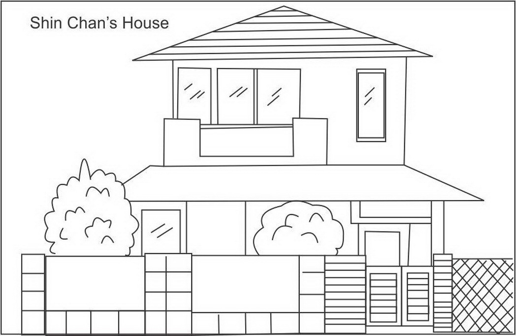 three little pigs coloring pages - shin chan house coloring page for
