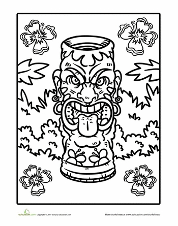 tiki coloring pages -