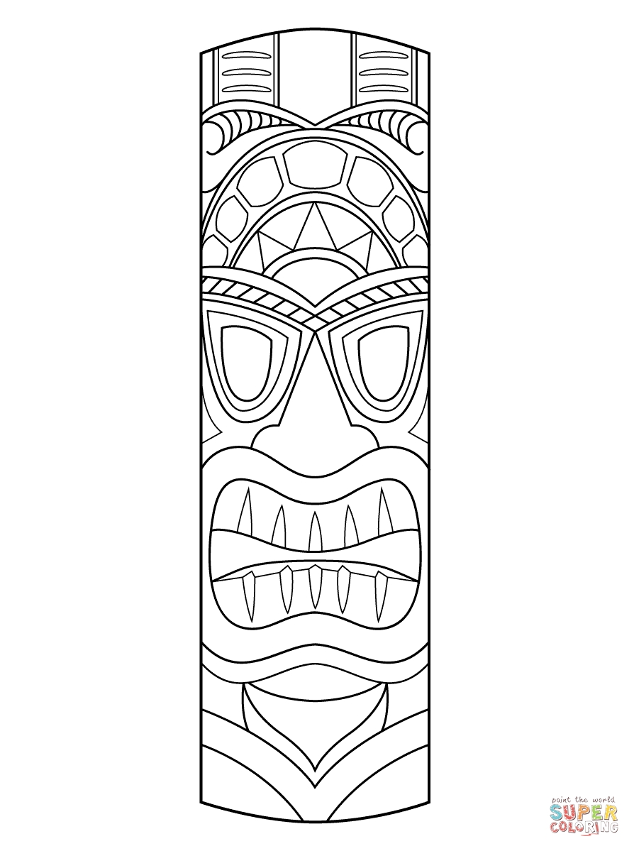 tiki coloring pages - tiki mask