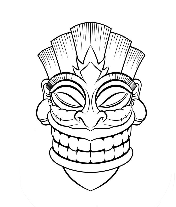 tiki coloring pages - tiki mask coloring pages
