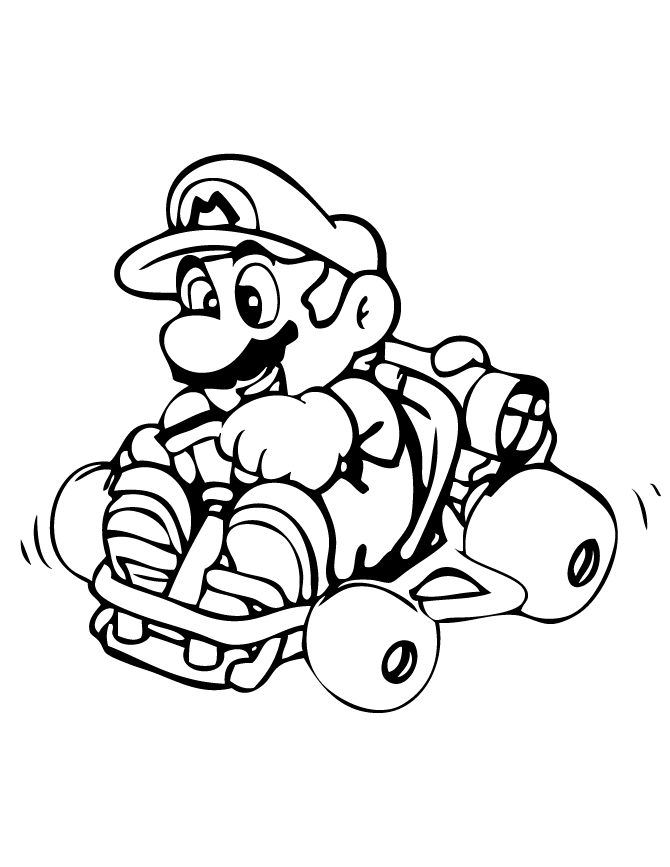 toad coloring pages - super mario kart