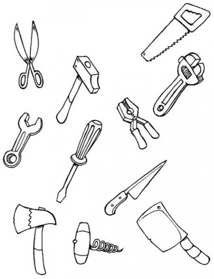 tools coloring pages - color each tool
