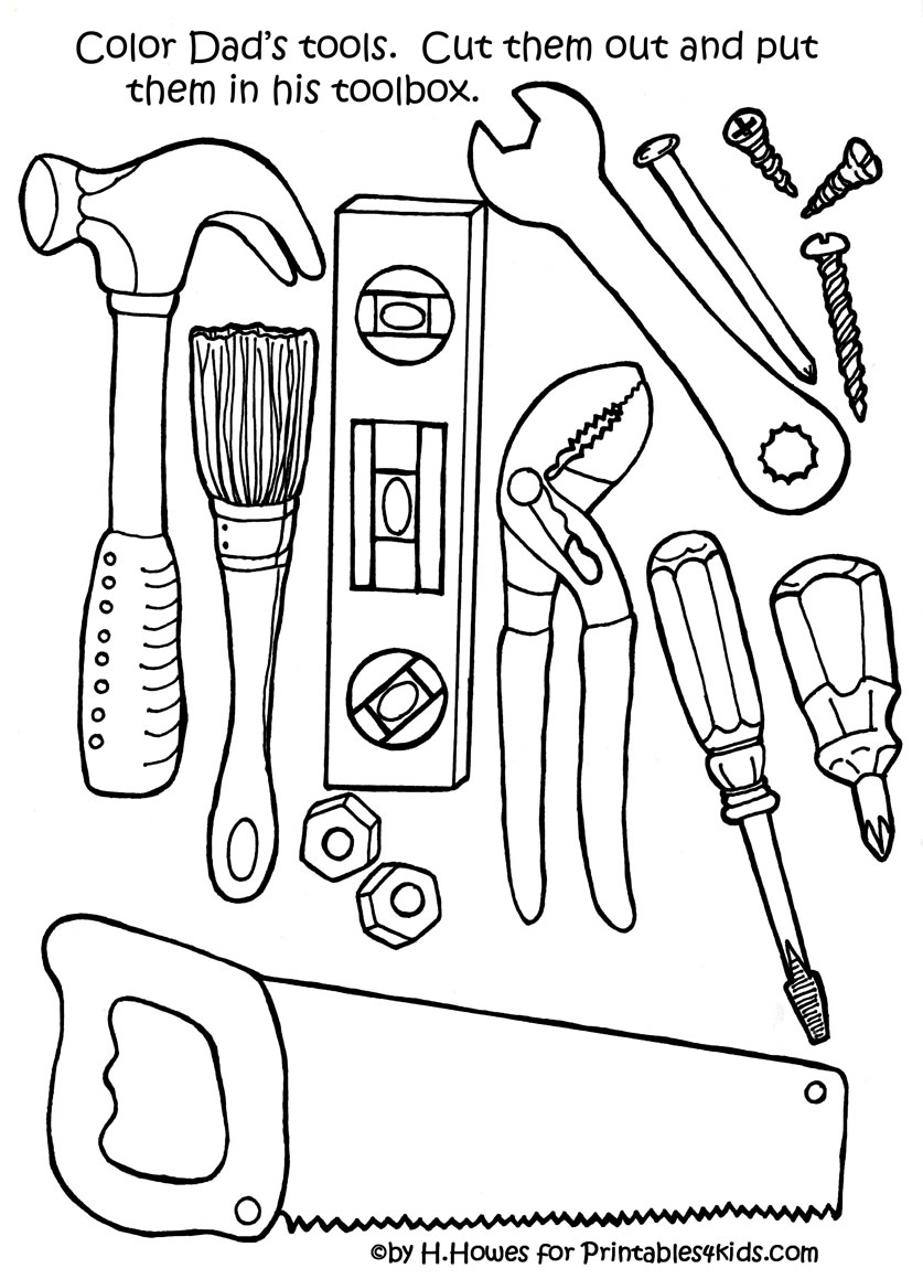 tools coloring pages - collectiontdwn tools coloring page