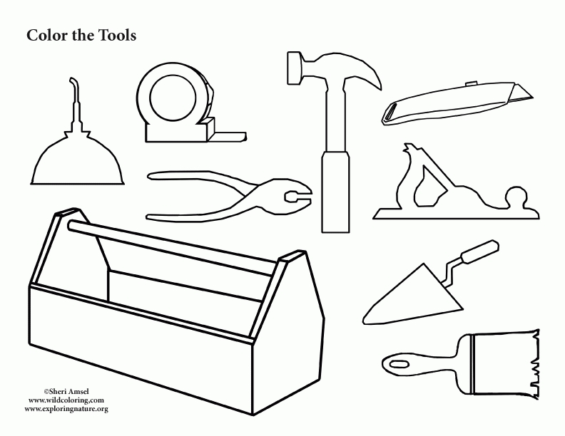 tools coloring pages - tool box coloring page