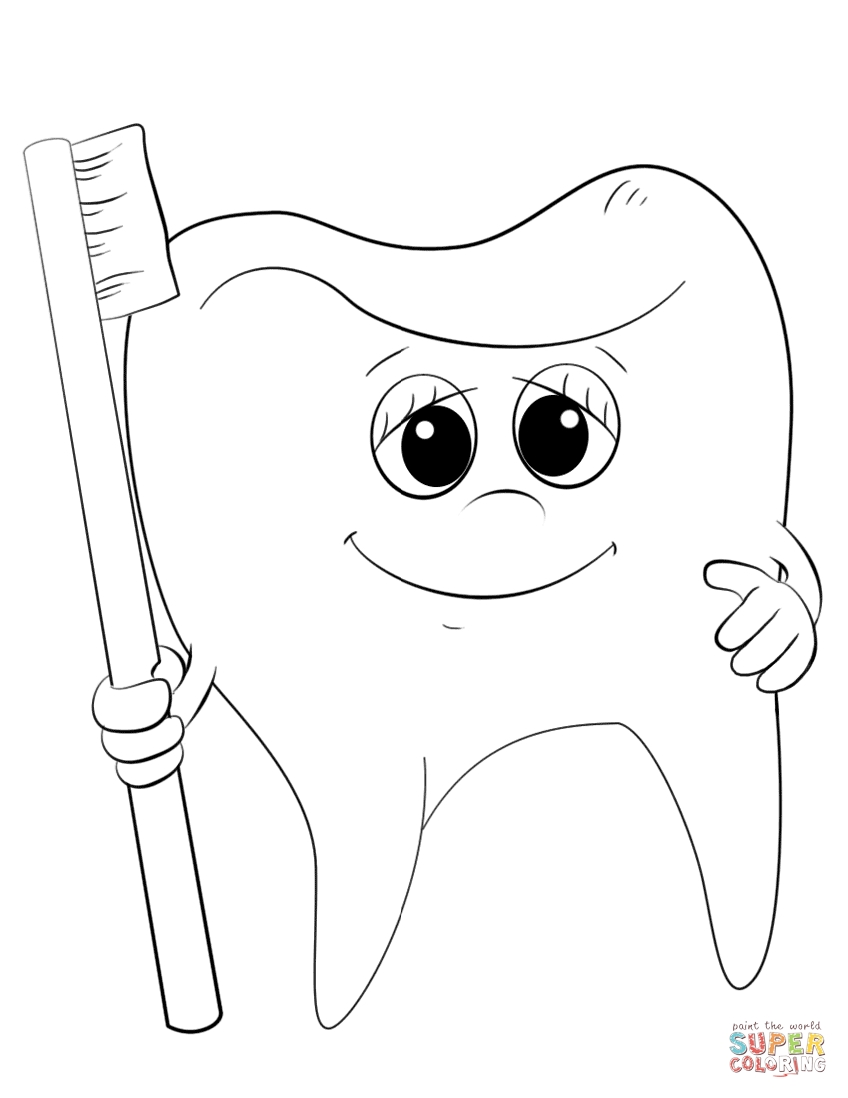tooth coloring pages - cartoon tooth and toothbrush