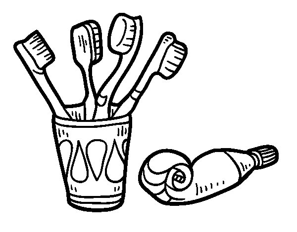 toothbrush coloring page - toothbrushes and toothpaste