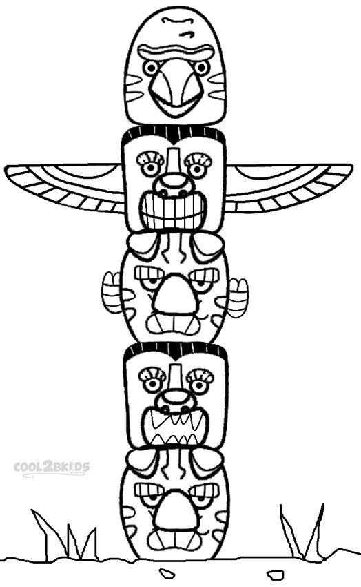 totem pole coloring pages - q=animal totem poles