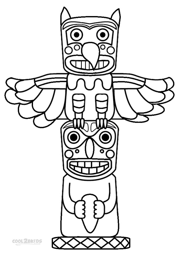 Totem Pole Coloring Pages - Printable totem Pole Coloring Pages for Kids