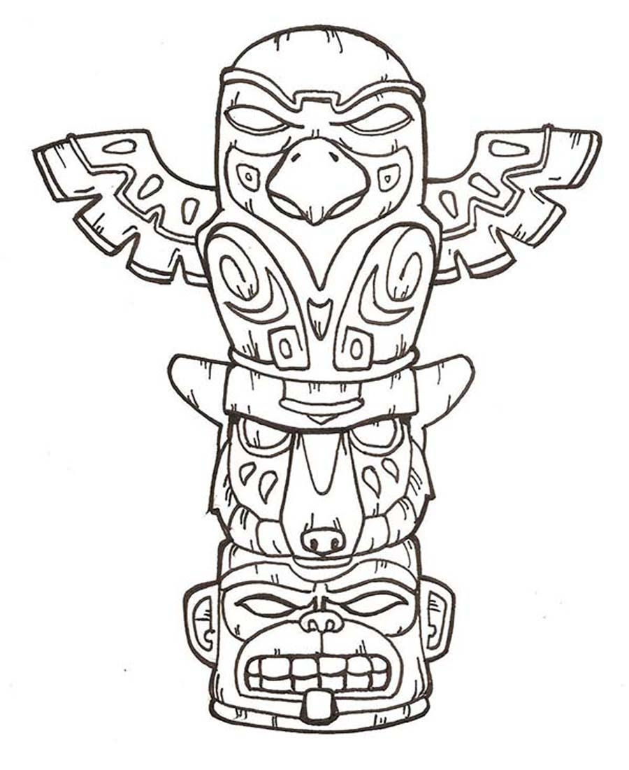 totem pole coloring pages - printable totem pole coloring pages
