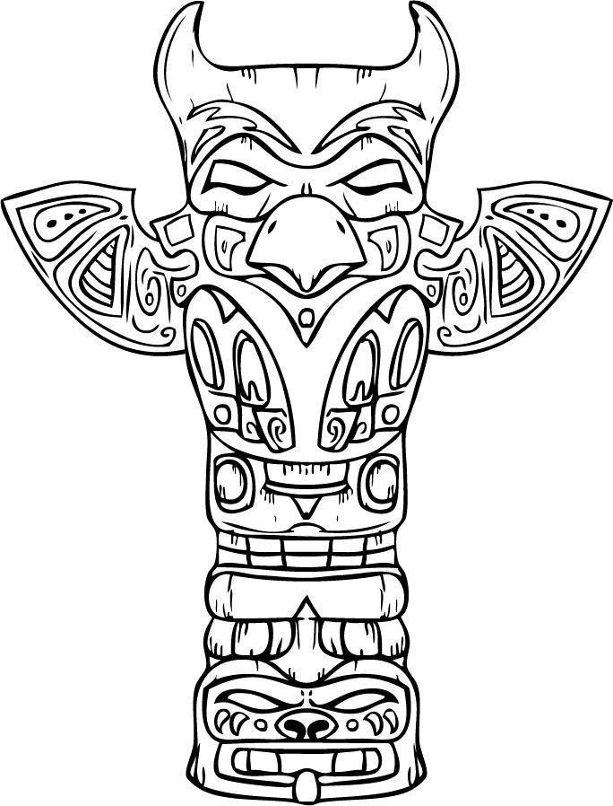 totem pole coloring pages - raven totem pole easy sketch templates