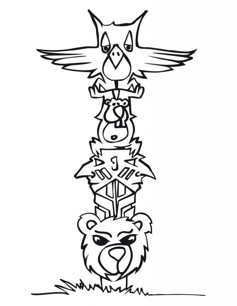 Totem Pole Coloring Pages - totem Pole Coloring Page Coloring Home