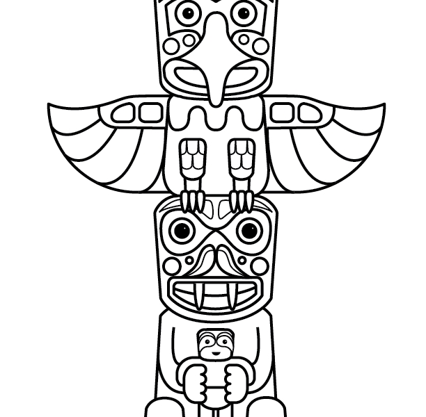 totem pole coloring pages - totem pole colouring pages