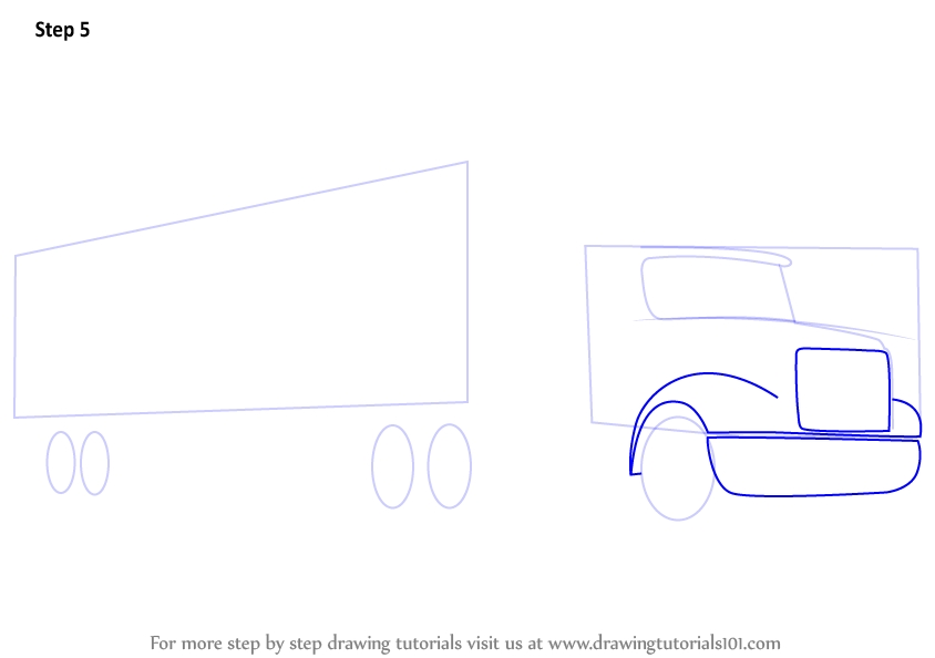 tow truck coloring pages - how to draw a truck and trailer