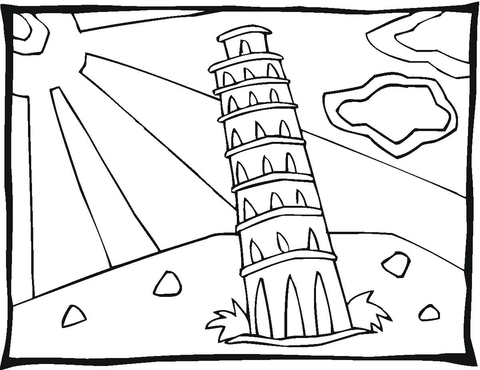 tower of babel coloring page - tour de pise