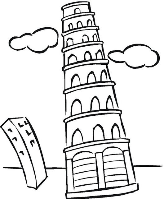 tower of babel coloring page - torre de pisa para colorear izEarapLE