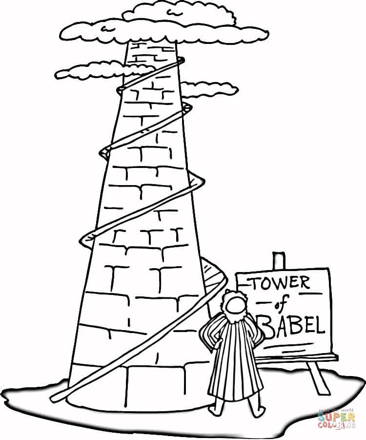 tower of babel coloring page - tower of babel