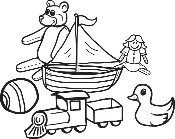 toys coloring pages - variety of fun christmas toys coloring page