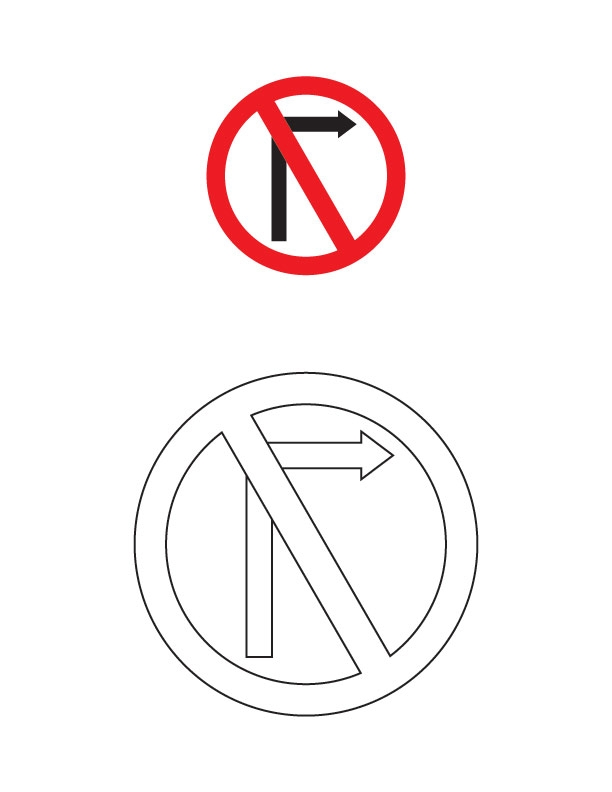 traffic light coloring page - traffic signs coloring pages