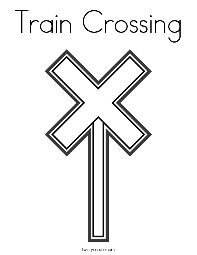 traffic light coloring page - train crossing 4 coloring page