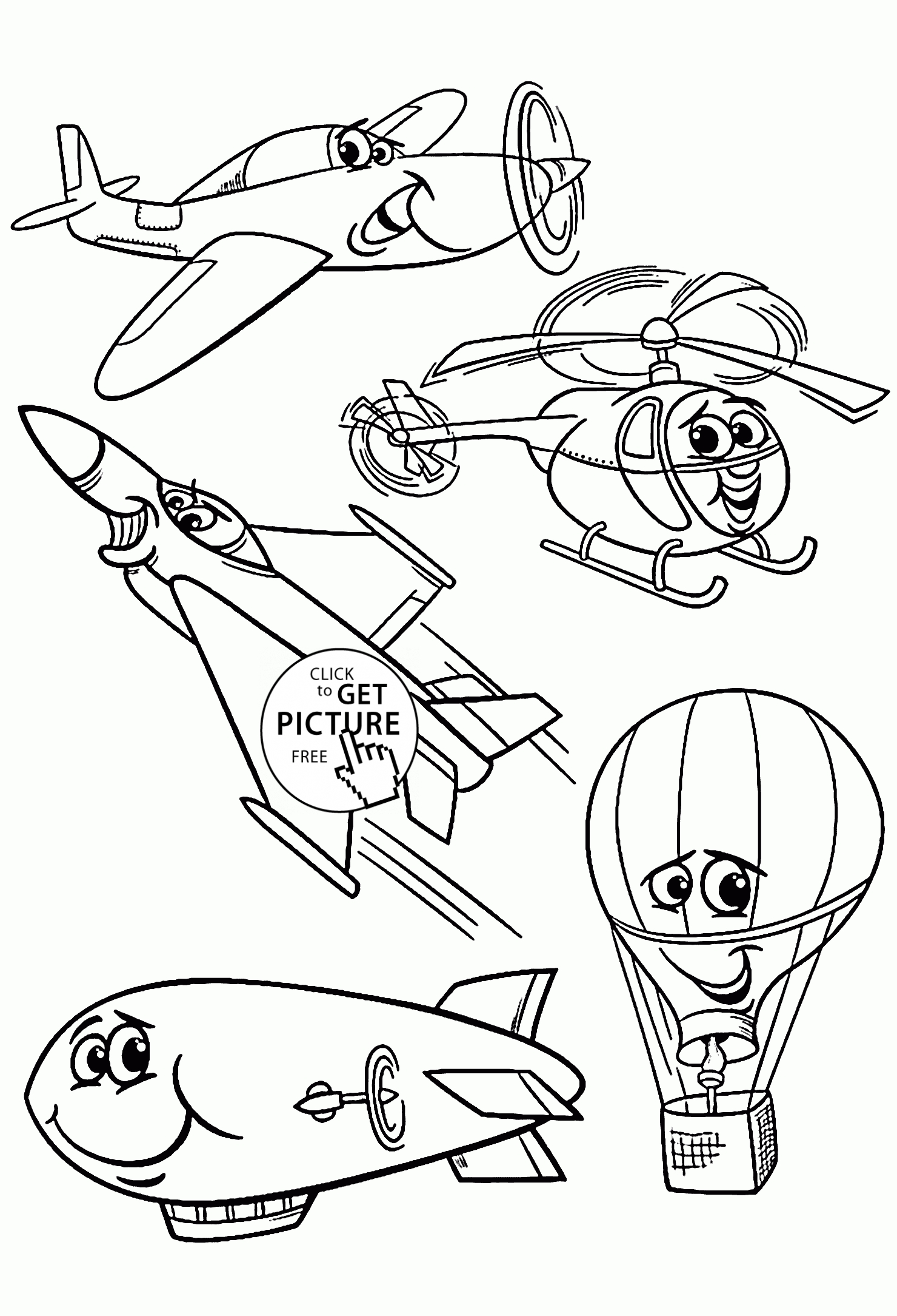 transportation coloring pages - cartoon air vehicles coloring page for kids transportation coloring pages printables free