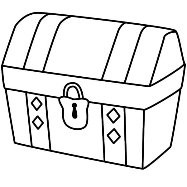 treasure chest coloring page - for a treasure chest