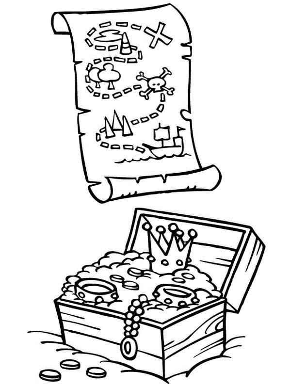 treasure chest coloring page - pirate treasure coloring page