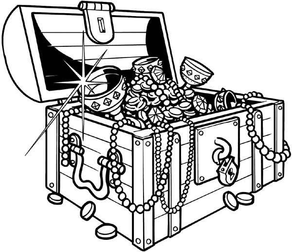 treasure chest coloring page -